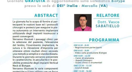 15.11.2019 Sistematica Biotype , giornata gratuita di aggiornamento. Relatore Dott. Vasco Sabatiello